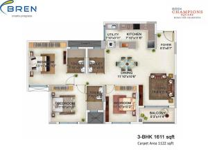 Bren Champions Square- 3bhk Flat For Sale B 403